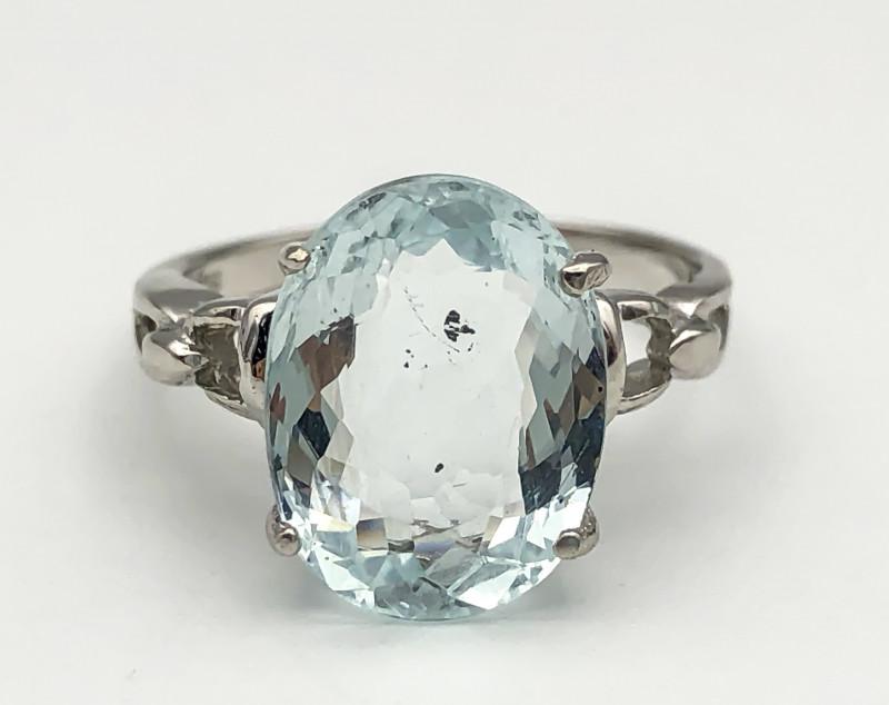 11.77 Crt Natural Aquamarine 925 Silver Ring