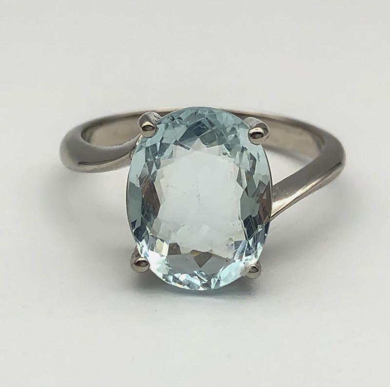 15.17 Crt Natural Aquamarine 925 Silver Ring