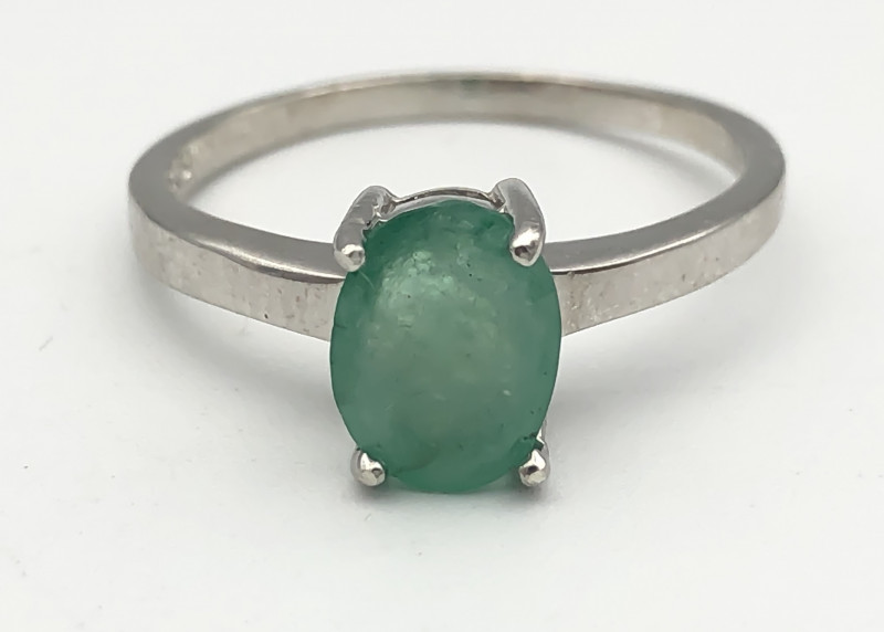 11.10 Crt Natural Emerald 925 Silver Ring