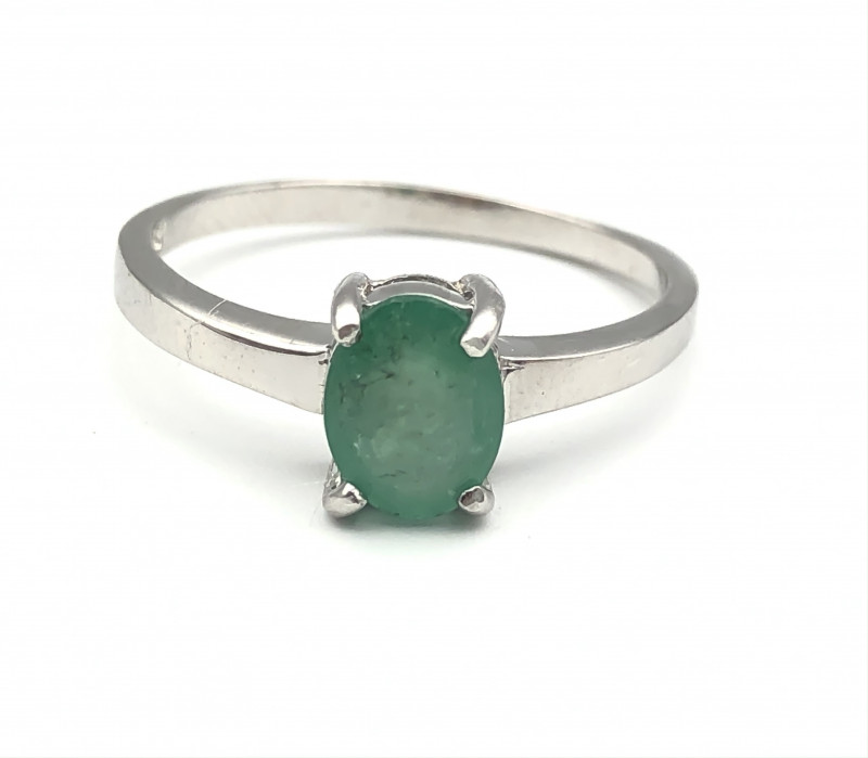 11.11 Crt Natural Emerald 925 Silver Ring