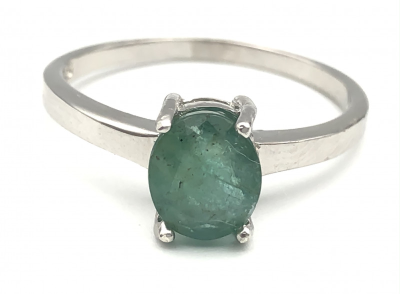 10.98 Crt Natural Emerald 925 Silver Ring