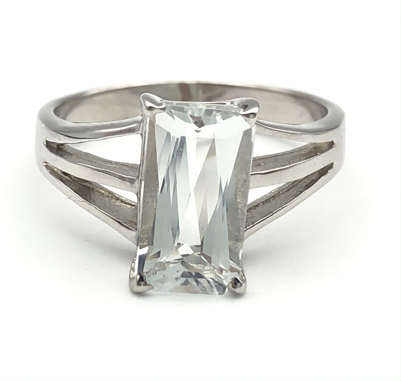 14.98 Crt Natural Aquamarine 925 Silver Ring