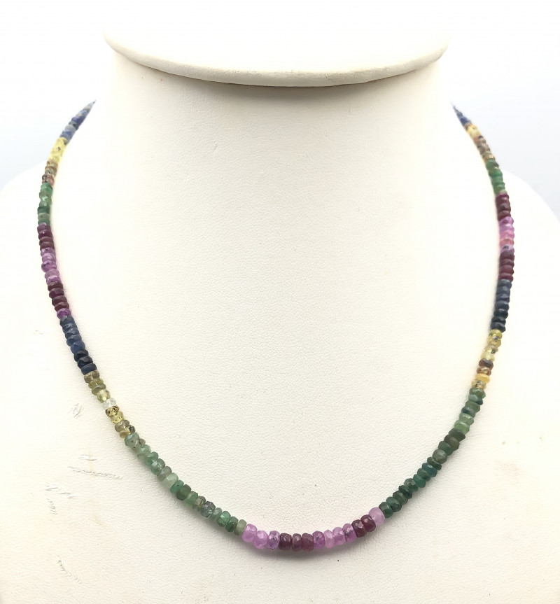 66.5 Crt Natural Ruby & Emerald & Sapphire Multistone Necklace