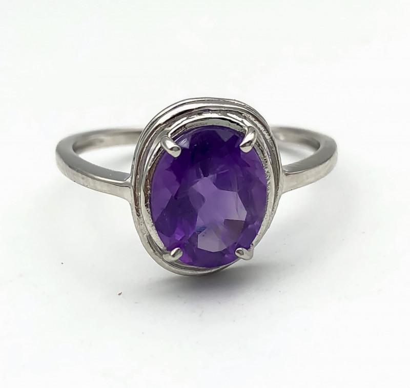 6.99 Crt Natural Amethyst 925 Silver Ring
