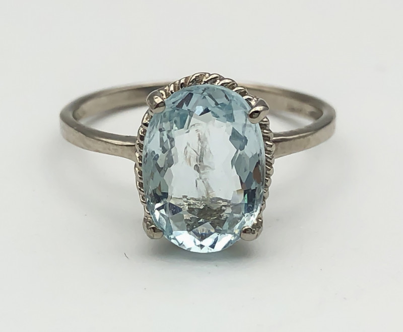7.59 Crt Natural Aquamarine 925 Silver Ring