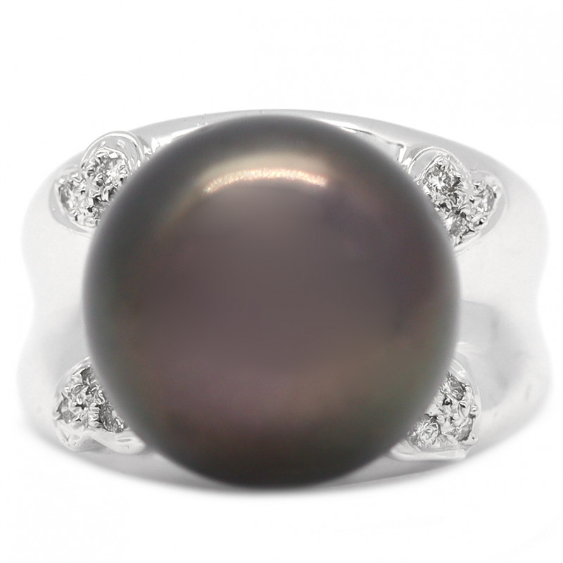 18k South Pacific Black Salt Black Pearl Ring [JR11 ]