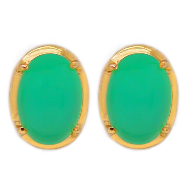 10K Gold Australian Chrysoprase Pierce Earring [JE01]