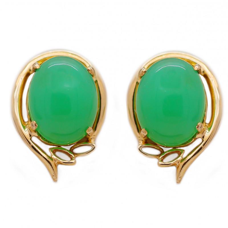 10K Gold Australian Chrysoprase Pierce Earring [JE02]