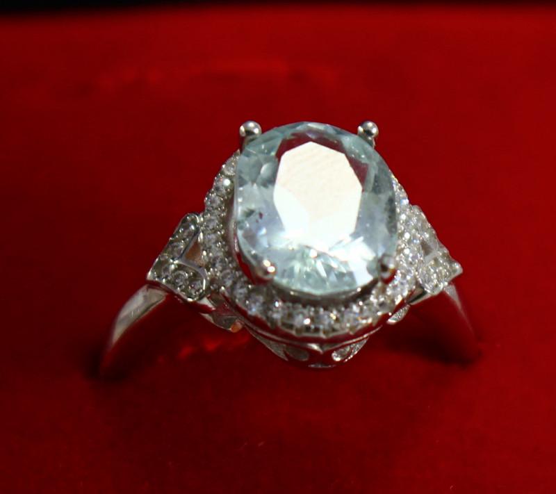 15.50 Cts Unheated & Natural ~ Blue Aquamarine Silver Ring