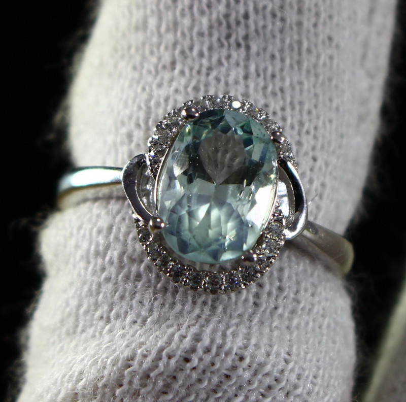 15.40 Cts Unheated & Natural ~ Blue Aquamarine Silver Ring