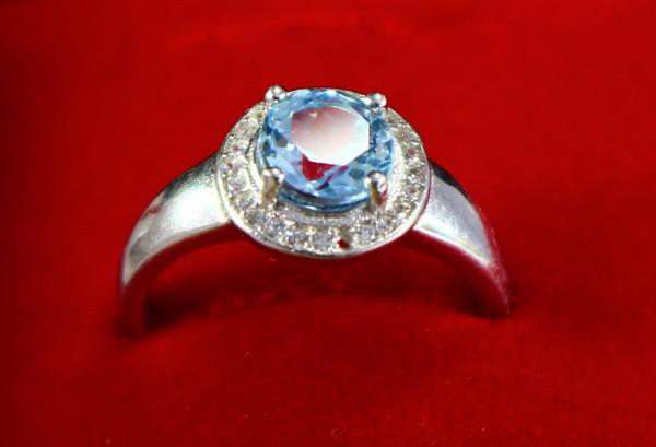 14.30 Cts Unheated & Natural ~ Blue Aquamarine Silver Ring