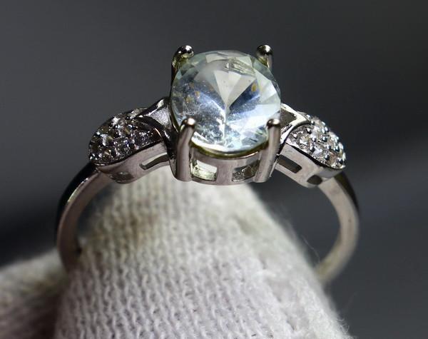 4.70 Cts Unheated & Natural ~ Blue Aquamarine Silver Ring