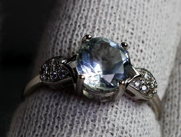 12 Cts Unheated & Natural ~ Blue Aquamarine Silver Ring