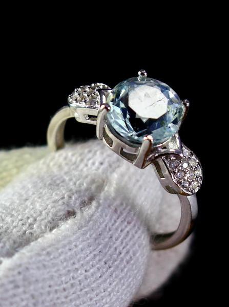 12.10 Cts Unheated & Natural ~ Blue Aquamarine Silver Ring
