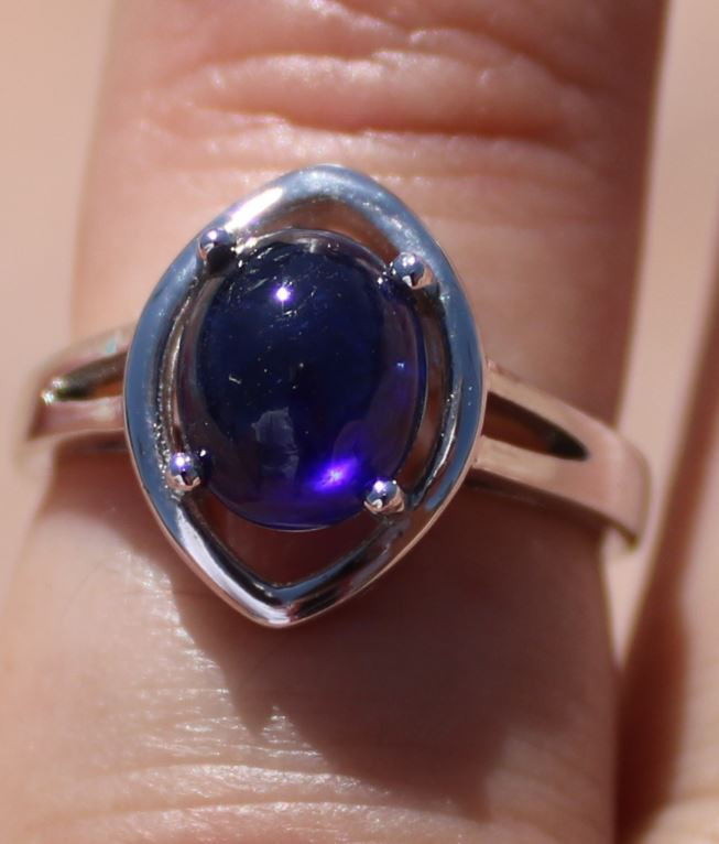 Blue Sapphire 4.02ct Solid 925 Sterling Silver Rhodium Finish Solitaire Rin