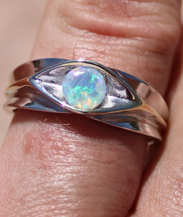 Opal .83ct Solid 925 Sterling Silver Rhodium Finish Mens Solitaire Ring