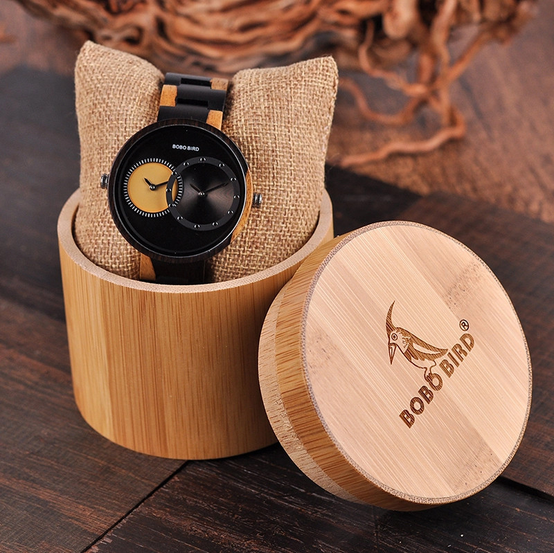 Wooden Watch - Multiple Time Zone - Black & Yellow - W001