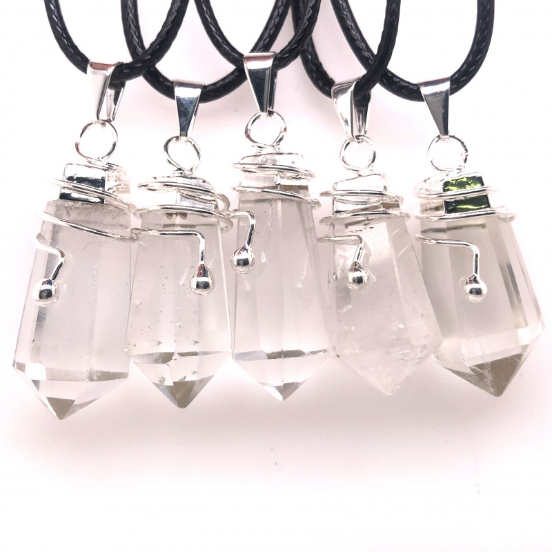 Parcel 5 x Terminated Point Crystal Boho Style Pendant - BR 897
