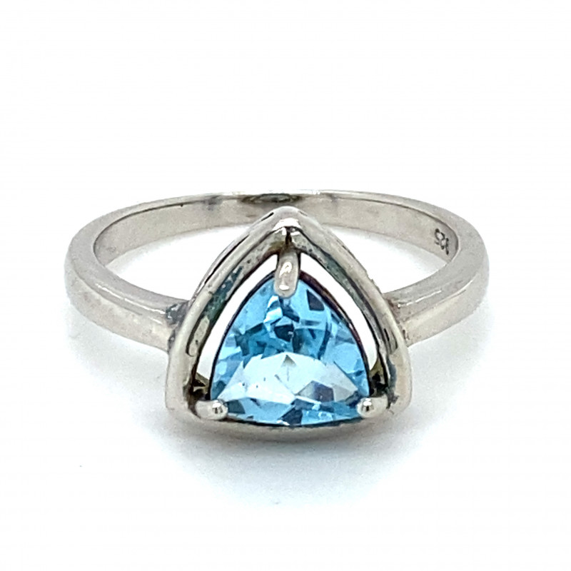 Blue Topaz 1.61ct Solid 925 Sterling Silver Rhodium Finish Solitaire Ring
