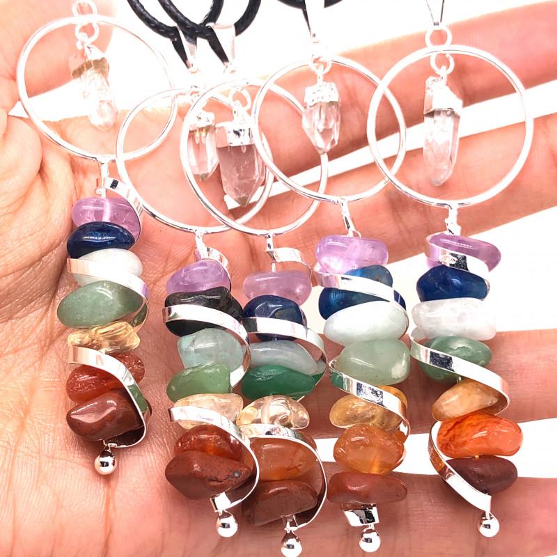 5 x Seven Chakra - natural stones - Infinite Spiral pendant - BR 933