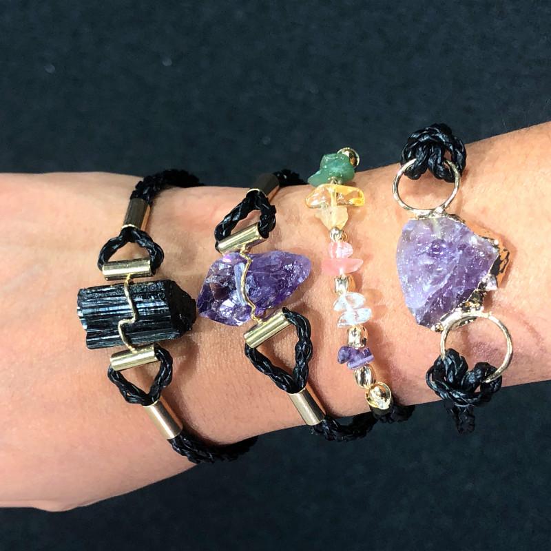 4 x Raw Rock Gemstones Bracelet - BR 956