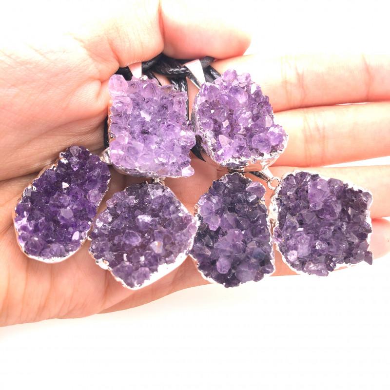 6 Amethyst Druze  Cluster  Gemstone  Pendants ,  BR 2227