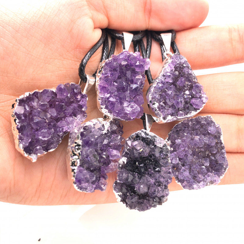6 Amethyst Druze  Cluster  Gemstone  Pendants ,  BR 2230