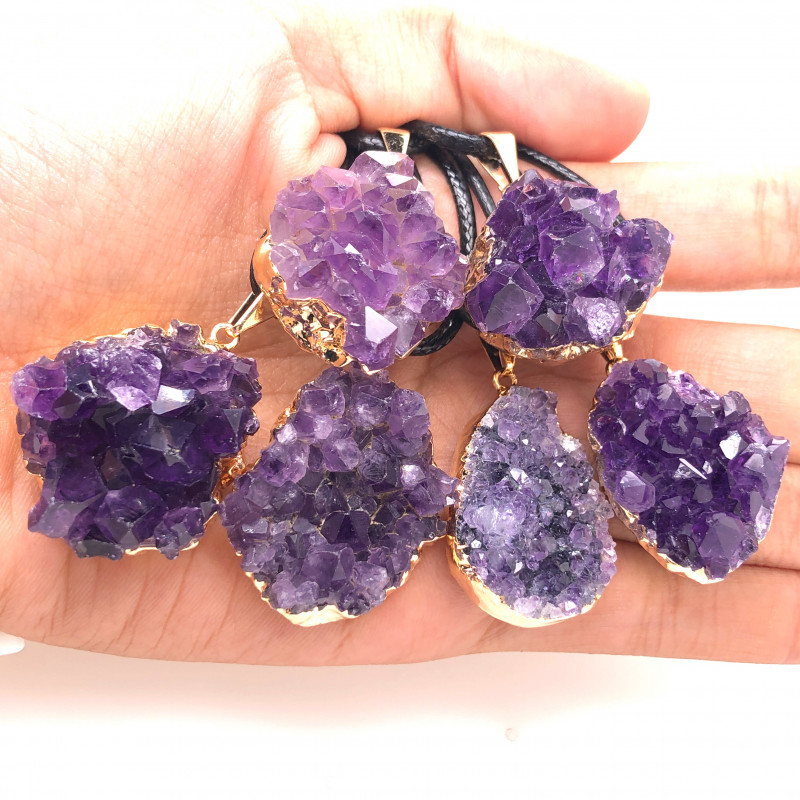 6 Amethyst Druze  Cluster  Gemstone  ,  BR 2233