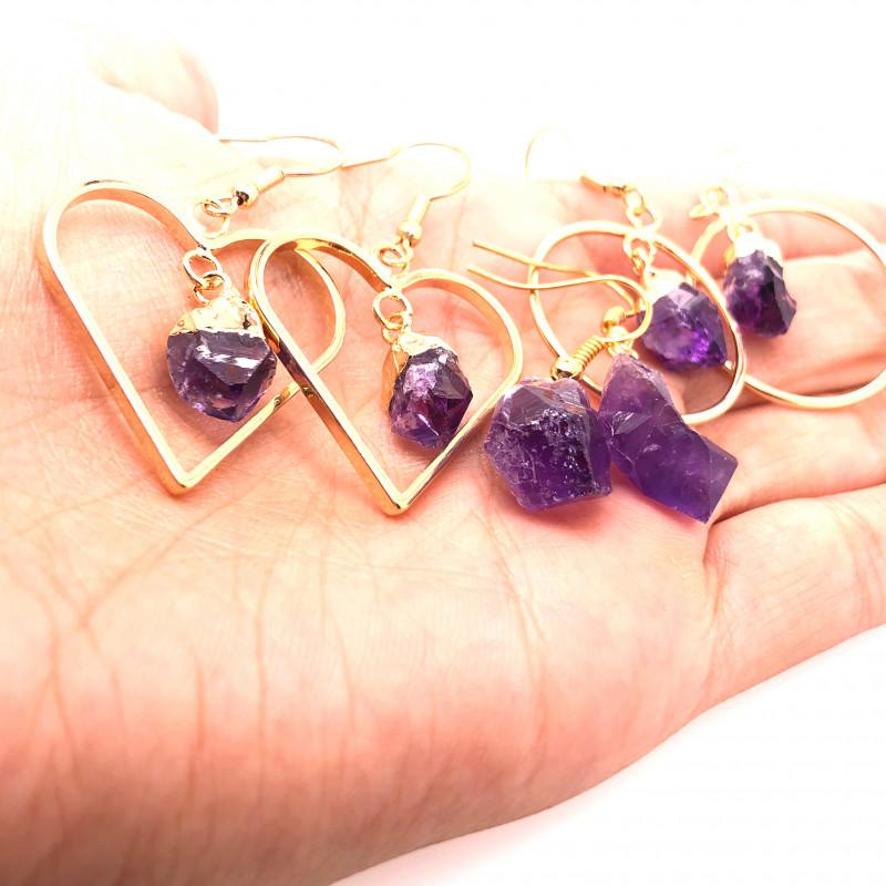 5 x Raw Beautiful Amethyst Earrings  BR 2239