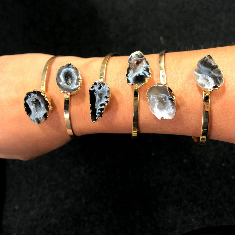 3 x Raw Druzy Gemstone Bracelet - BR 970