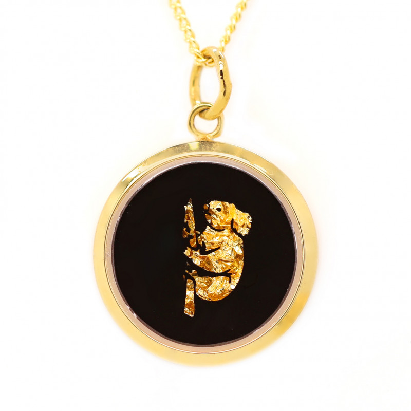 AUSTRALIAN GOLD NUGGET LEAVES & GOLD PLATED PENDANT [JP04]