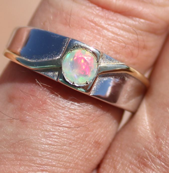 White Opal .70ct Solid 925 Sterling Silver Rhodium Finish Solitaire Ring