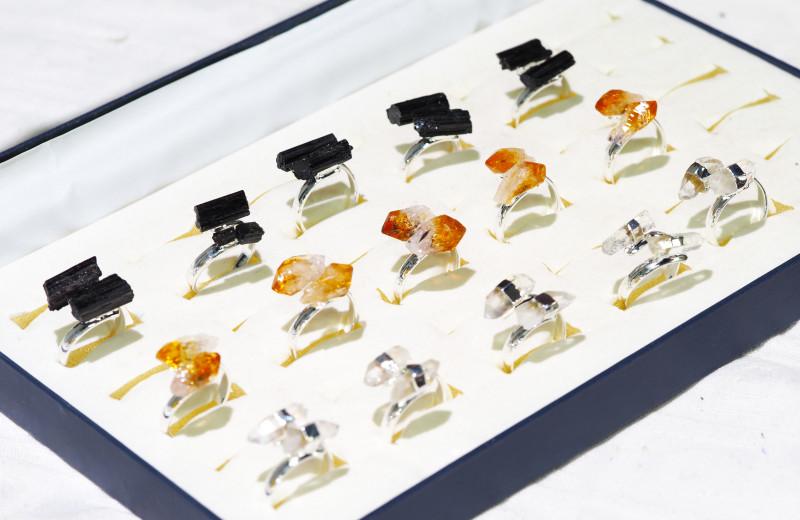 x15 Set Raw Citrine, Tourmaline & Amethyst Silver Plated Rings - BR 979