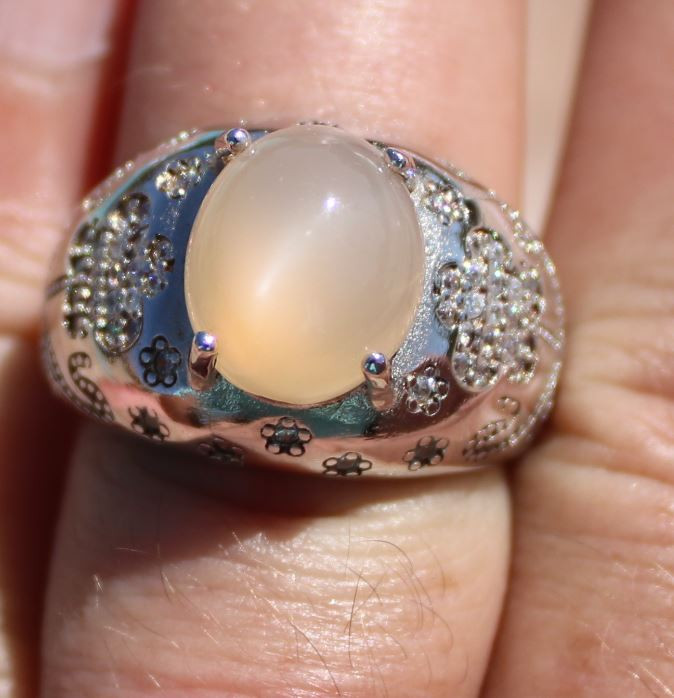 Moonstone 5.44ct Solid 925 Sterling Silver Rhodium Finish Solitaire Ring