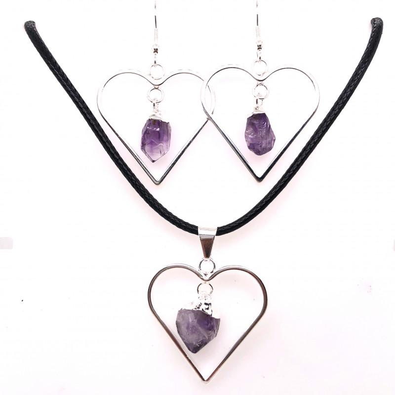 Raw Beautiful Love Heart Amethyst Earrings  n  Pendant BR 2288