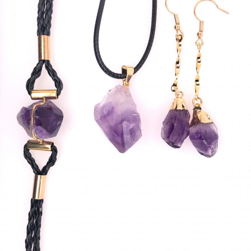 Amethyst Lovers Three Piece Jewelry Set - BR 1003