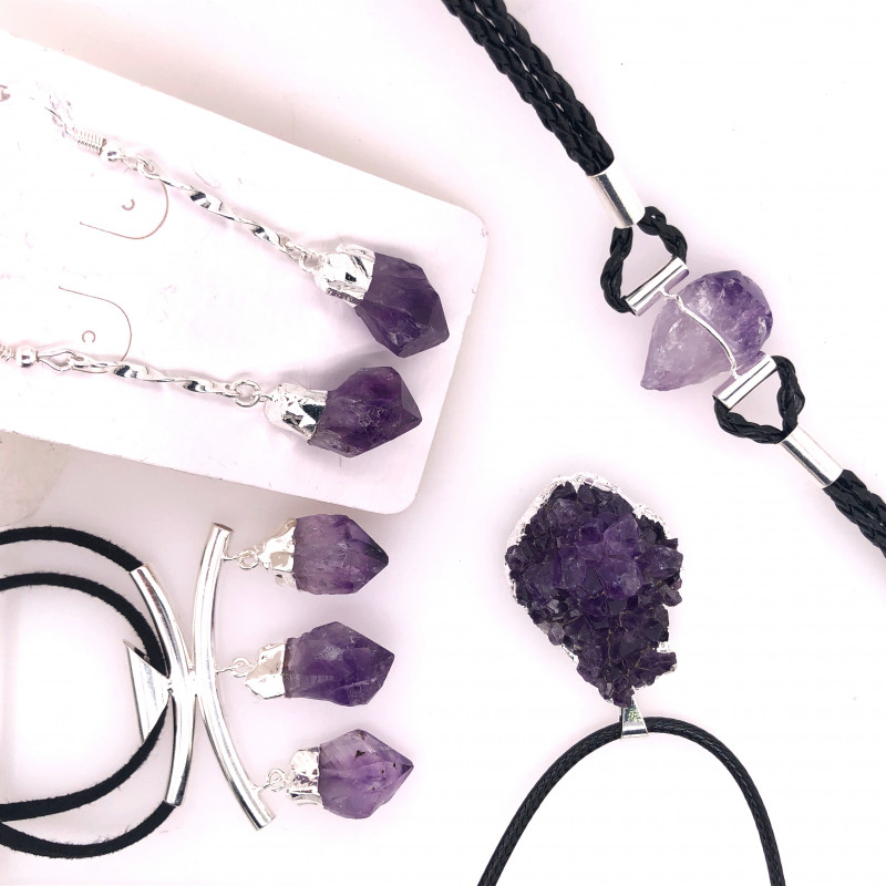Amethyst Lovers Four Piece Jewelry Set - BR 1008