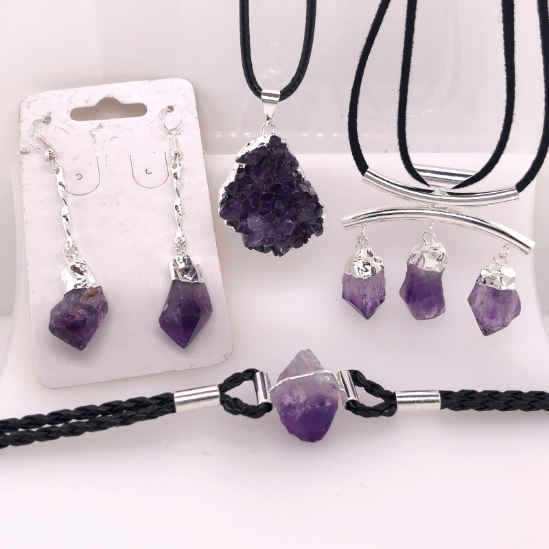 Amethyst Lovers Four Piece Jewelry Set - BR 1009