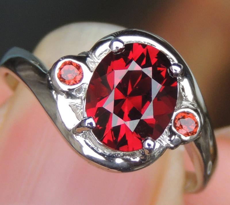 Master Cut Red Rhodolite in Silver