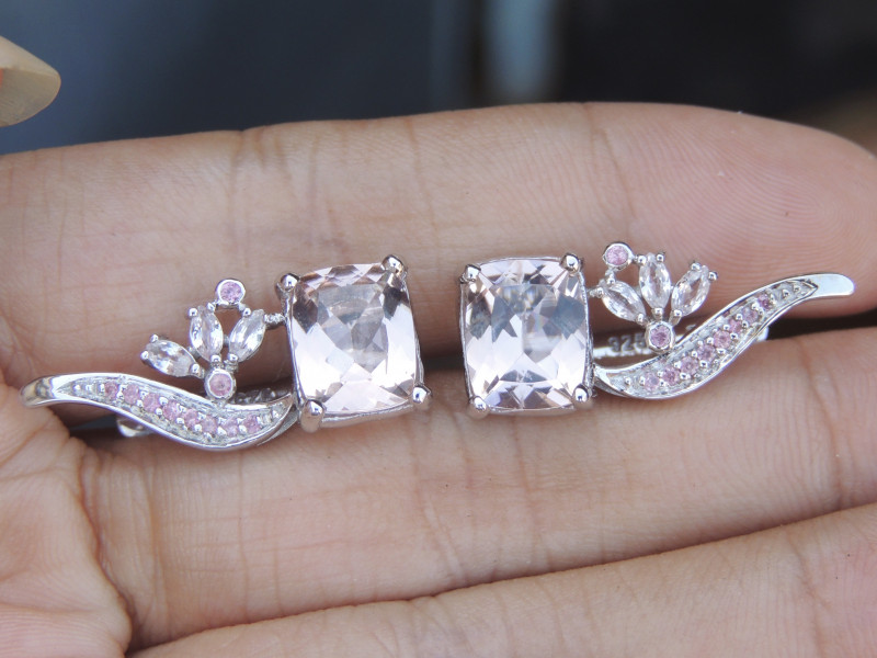 5.01cts Morganite with Pink Sapphires in Silver Earrings