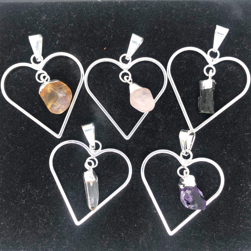 4x Heart Designs Raw Crystal,  Amethyst , Citrine ,Tourm Pendants BR 2325
