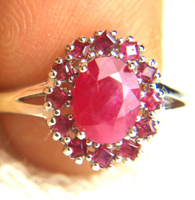 17.36 Carat Sterling Silver, White Gold Plated Ruby Ring - Cool