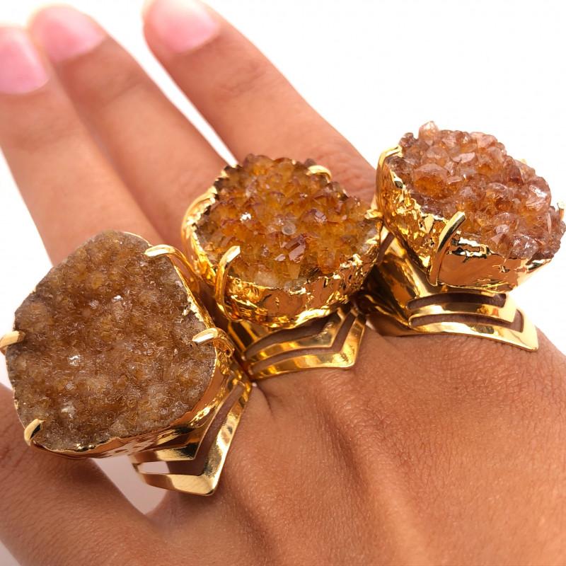 3 x Raw High Grade Druzy Gemstone Golden Ring - BR 1222