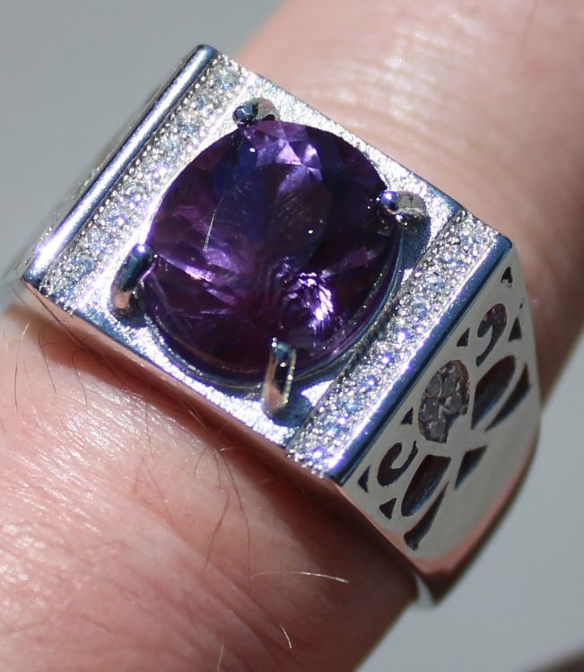 Amethyst 3.70ct White Gold Finish Solid 925 Sterling Silver Mens Solitaire
