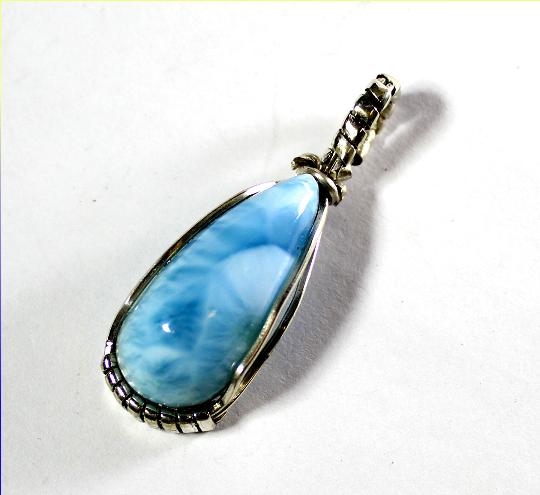 Splendid Natural Sky Blue AAA++ Larimar .925 Sterling Silver Pendant 41mm