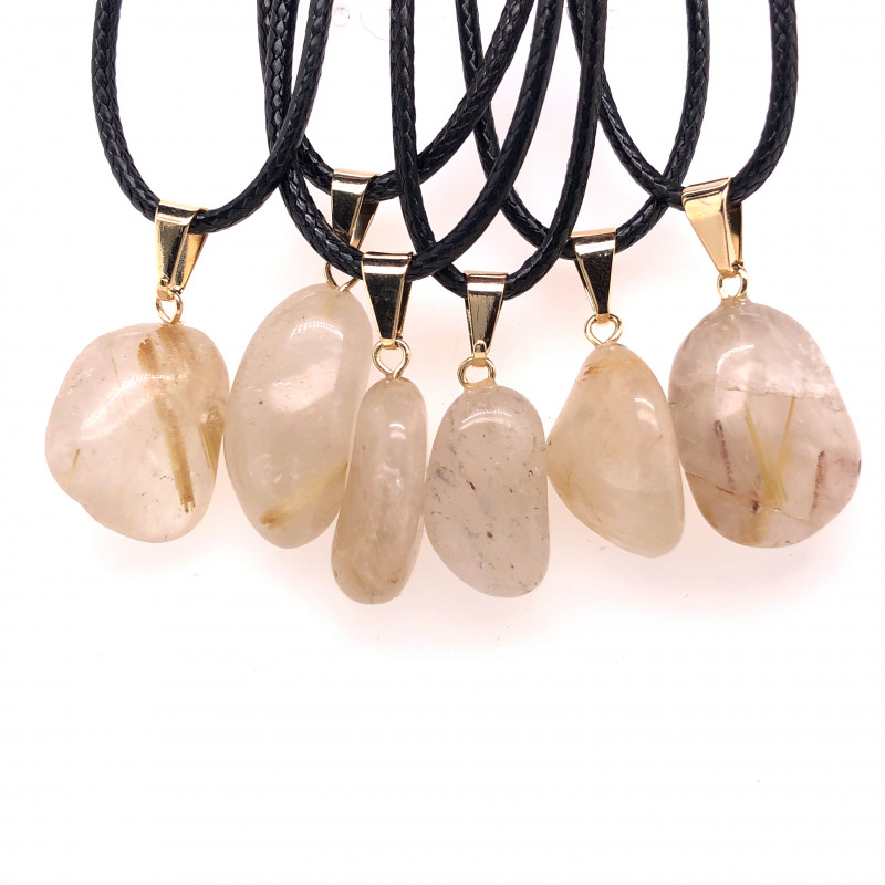 6 x Quartz Tumbled Pendants, Full Rock Crystal BR2261