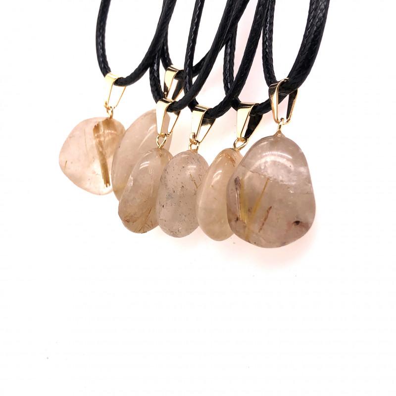 6 x Quartz Tumbled Pendants, Full Rock Crystal BR2262