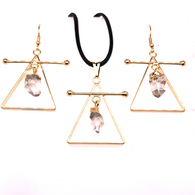 Raw Crystal Triangle Earth symbol - 3 pc set - BR 1524