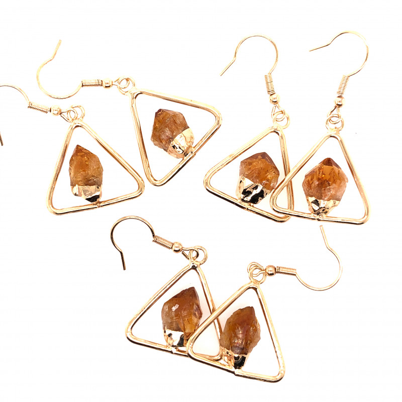 3 x Holystic Triangle Design Tumbled Citrine Set Earrings - BR 1527