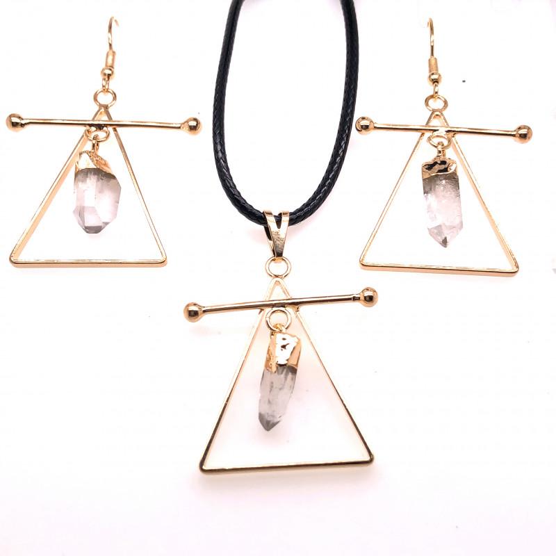 Raw Crystal Triangle Earth symbol - 3 pc set - BR 1531
